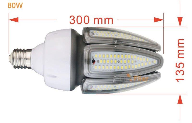 Bombilla LED MAÍZ 80W tamaño