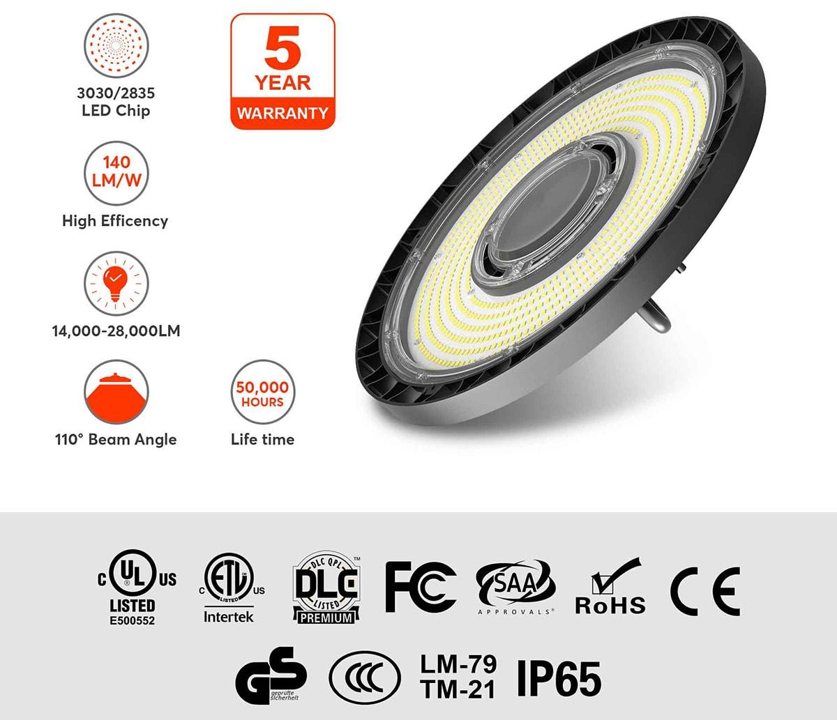 calculatrice d'éclairage LED haute baie