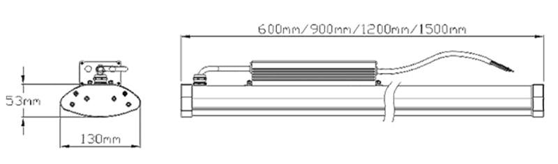 Dimensión de luz LED lineal de gran altura