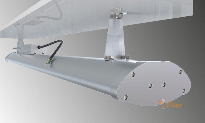 instalación montada de luz led lineal de gran altura