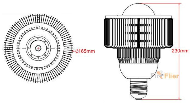 E40-100W-LED-Hochregallichtgröße