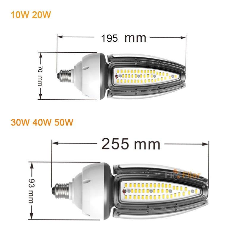 Taille de l'ampoule de maïs IP65 LED