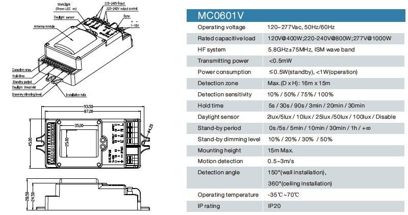 especificación del sensor de atenuación