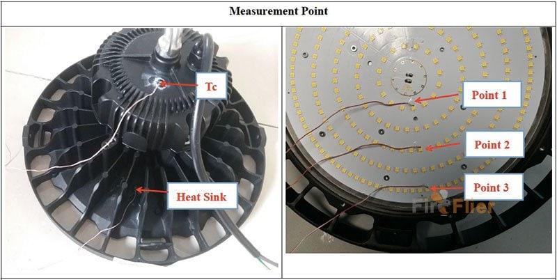 prueba de temperatura de ufo led high bay