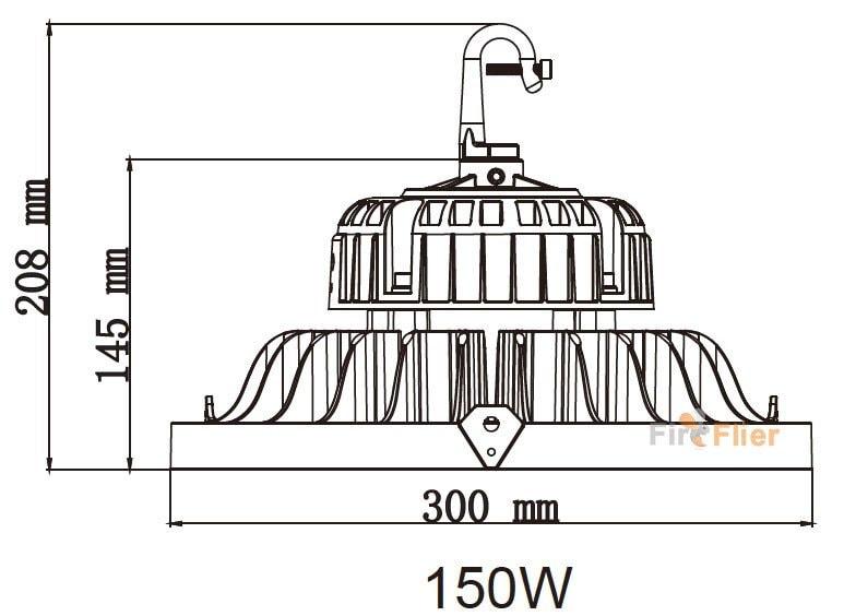 UFO LED High Bay Licht 150W Hakengröße