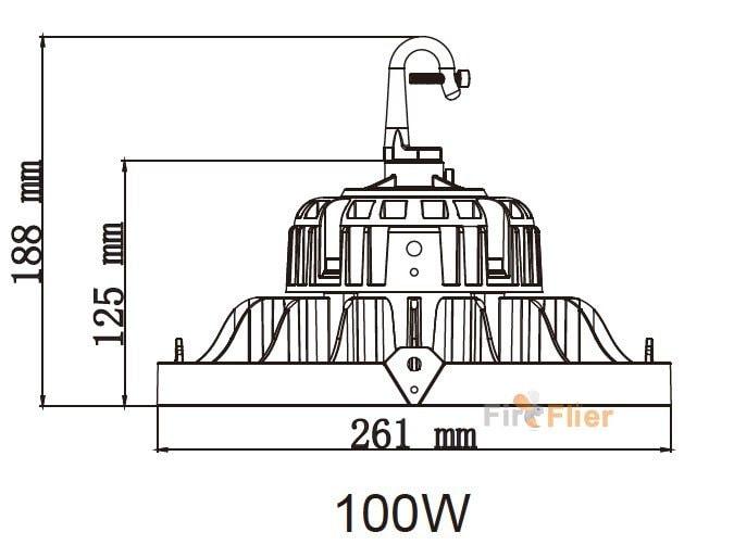UFO LED High Bay Light 100W con gancho