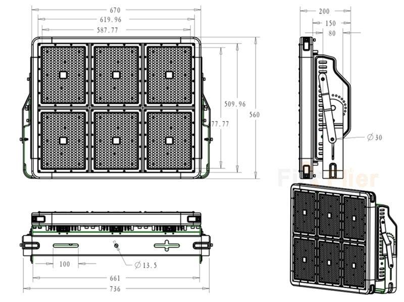 Dimensión LED de luz de estadio 1080W