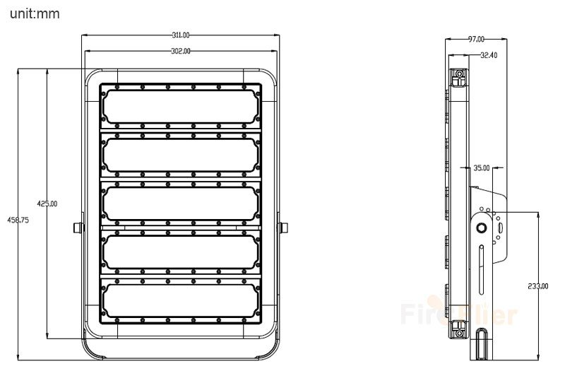 LED High Mast Light 250W tailles