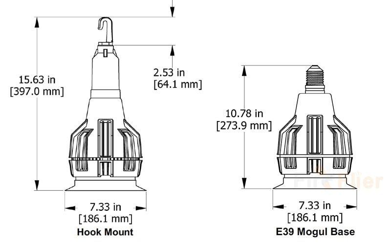 Abmessung E39 E40 LED Hochregallampe 150w 200w
