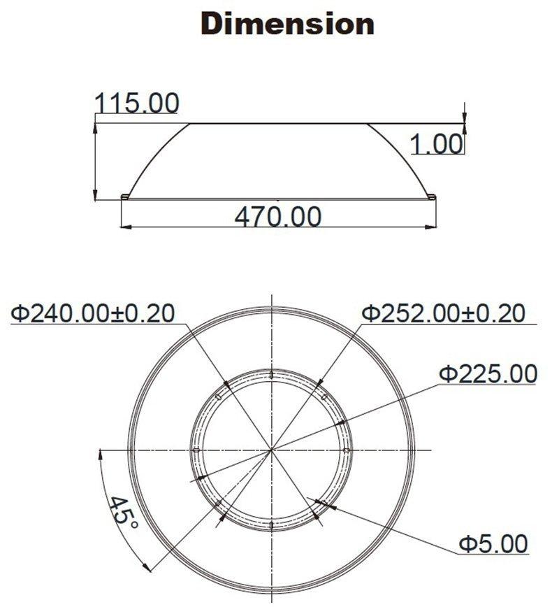 Aluminum diffuser dimension