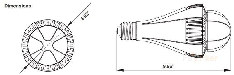 Bombilla LED de gran altura Dimension E39 E40 100W