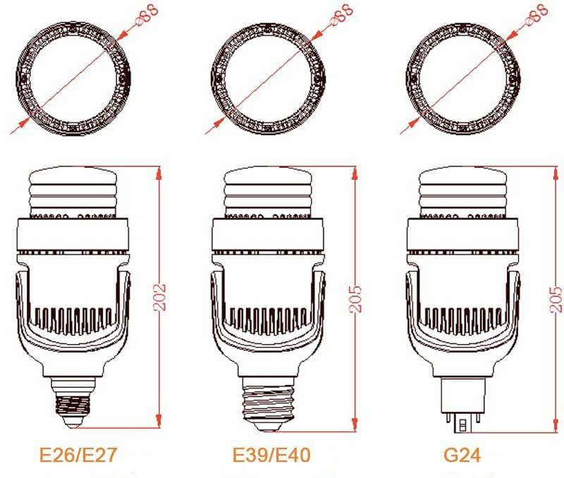 E27 E40 LED حجم لمبة التحديثية