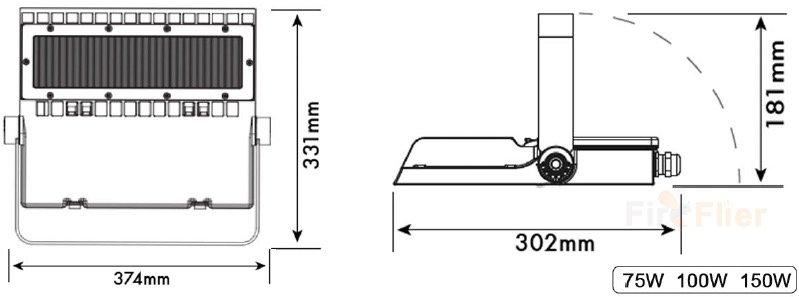 DIMENSIÓN de Área de luz LED asimétrica 75w 100w 150w