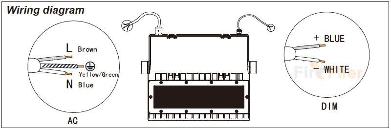 diagrama de cableado de la luz de área led
