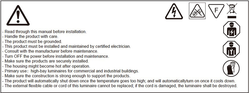 Installationshinweis der LED-Hochregallampe