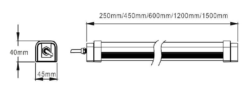 Größe der LED Tri-Proof-Licht