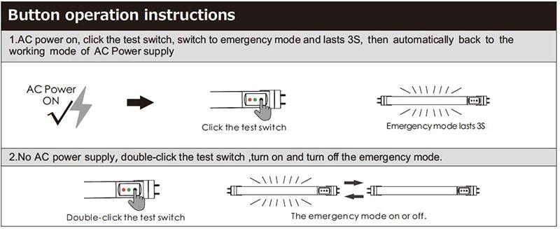 Not-LED-Röhrentastenbedienung