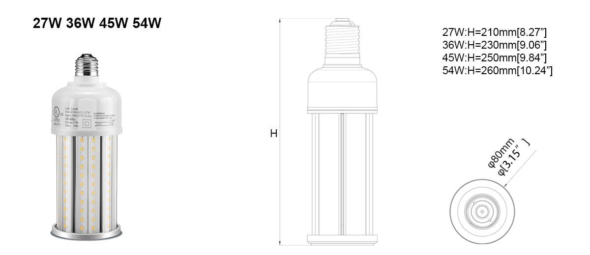 LED kukuřičná žárovka o velikosti 27-54 W.