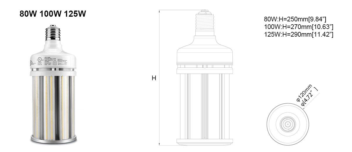LED kukuřičná žárovka o velikosti 80w 120w