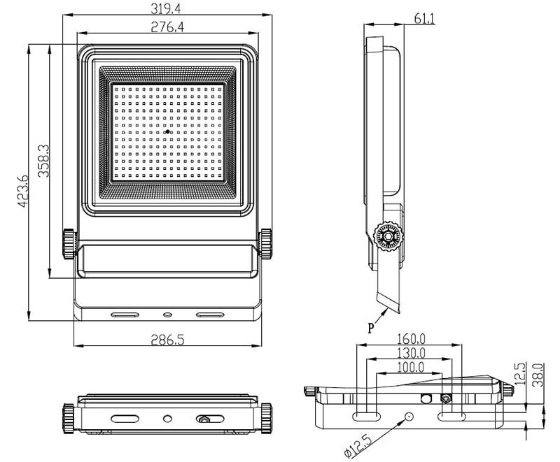 Abmessung von 150W LED-Flutlicht