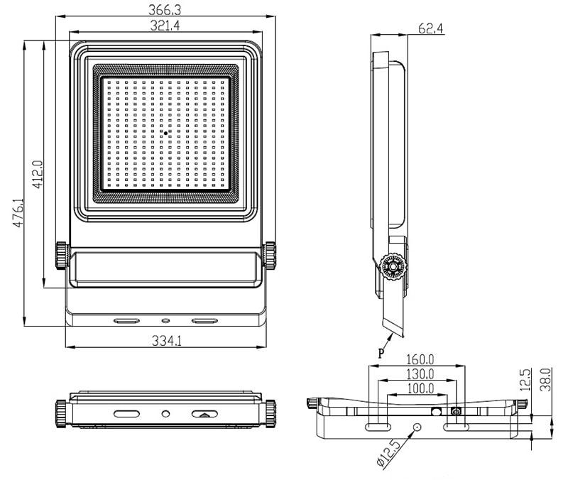 Abmessung von 200W LED-Flutlicht