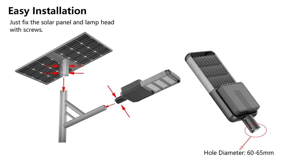 snadná instalace pouličního osvětlení vedeného solárním panelem
