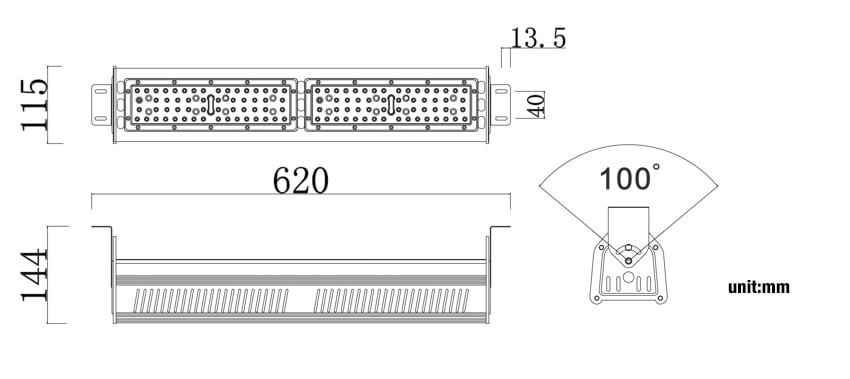 taille de la lumière d'allée d'entrepôt à LED 100W