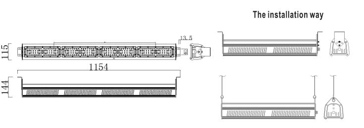 Größe des LED-Lagerganglichts 240w