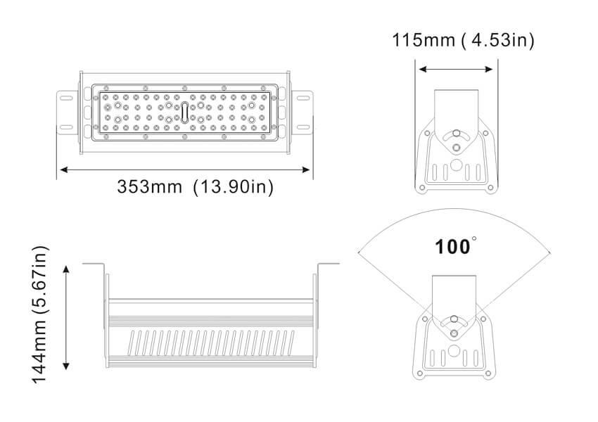 Größe des LED-Lagerganglichts 50w