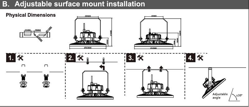Installation von LED-Hallenleuchte mit Halterung